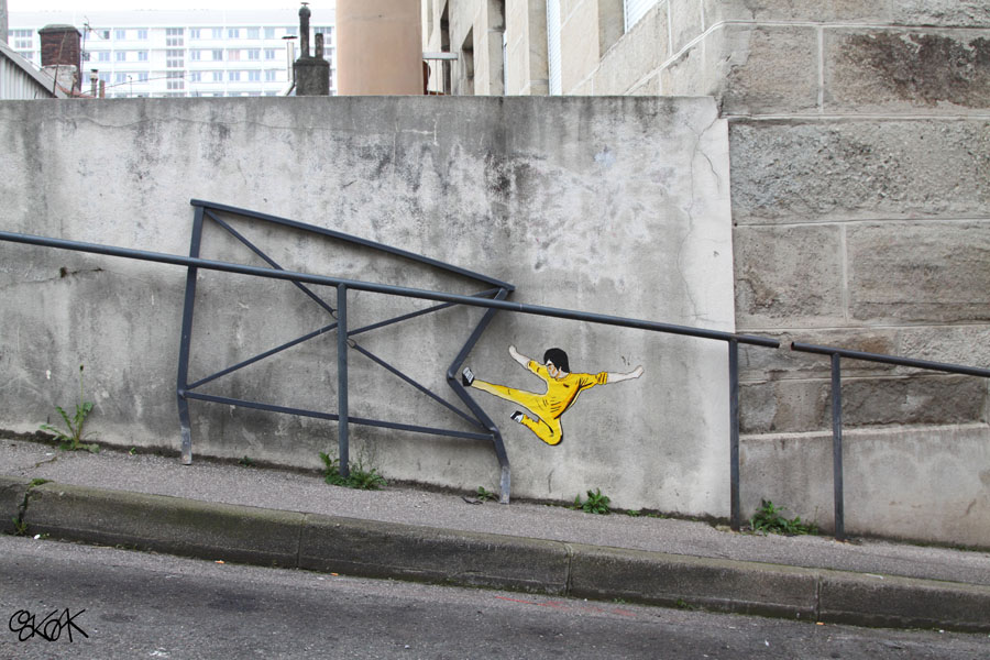 Bruce Lee by Oakoak - Saint Etienne, France, Mars 2014