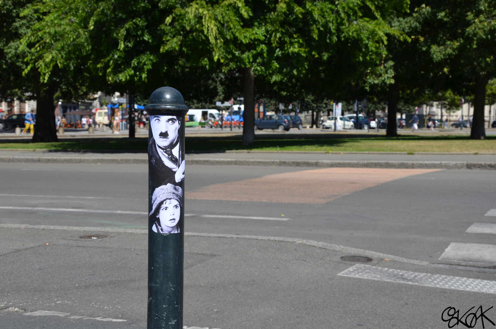 Charlie Chaplin and the Kid by Oakoak - Nantes, France, 2013