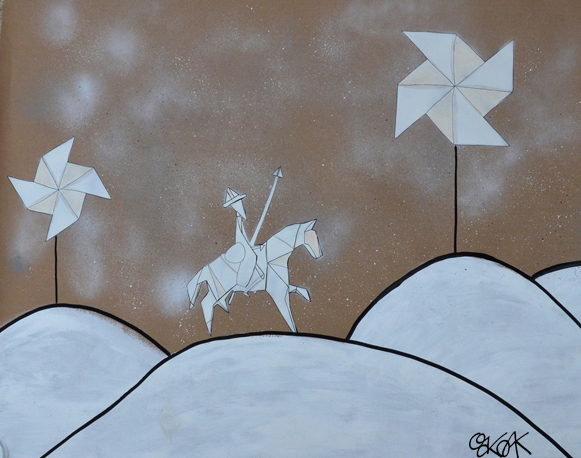 Don Quichotte in Origami n°2 by Oakoak - Papier kraft, Montana 94, feutres
