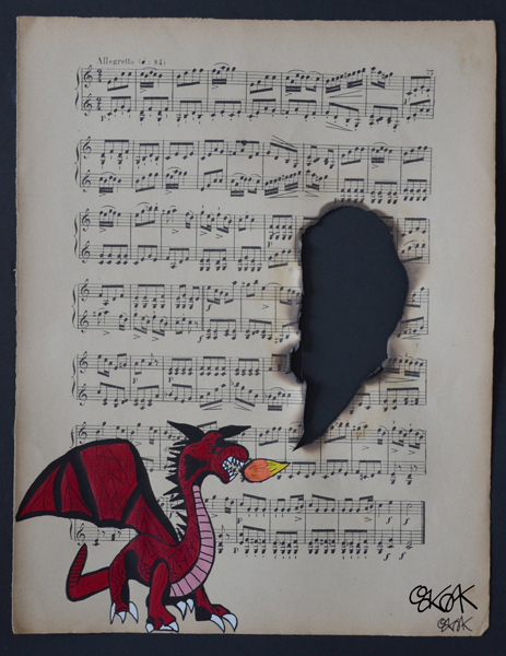 Dragon by Oakoak - sur ancienne partition de musique