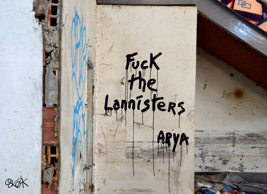 arya, game of trone, lannisters, snow john, Oakoak, Street art