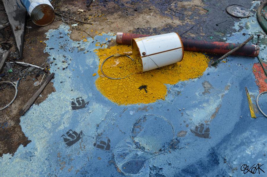 ile, island, pirates, trésor, Oakoak, Street art