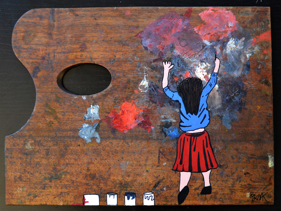 The girl and the paint by Oakoak - Ancienne palette de peinture