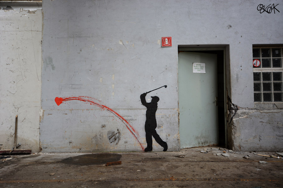 Heart Golf by Oakoak, Street art, street artist