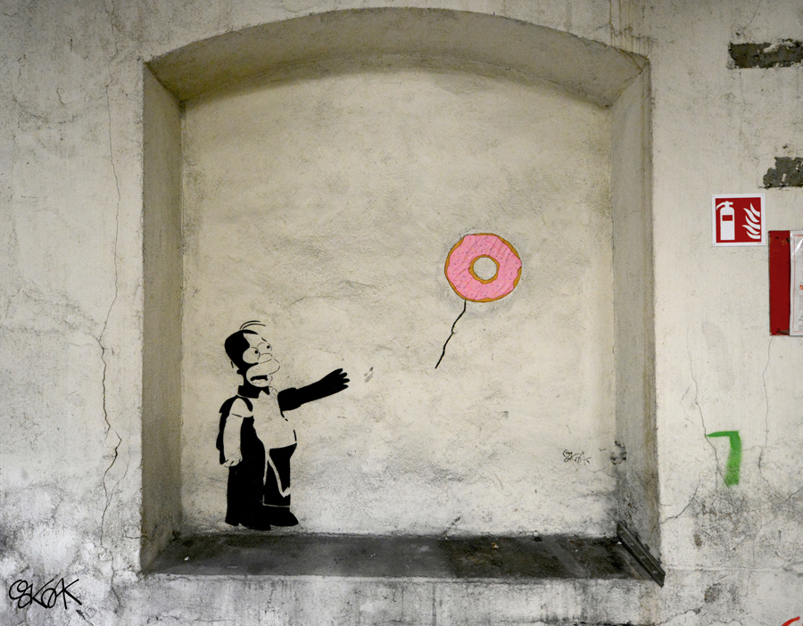Banksy vs Homer by Oakoak - France, Mars 2015