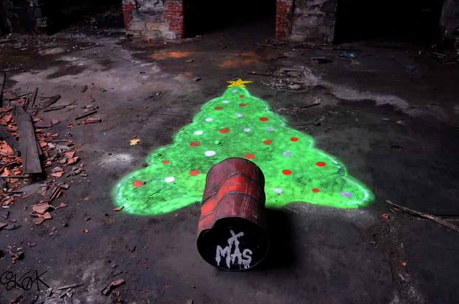 christmas tree,sapin de noel, Oakoak, Street art
