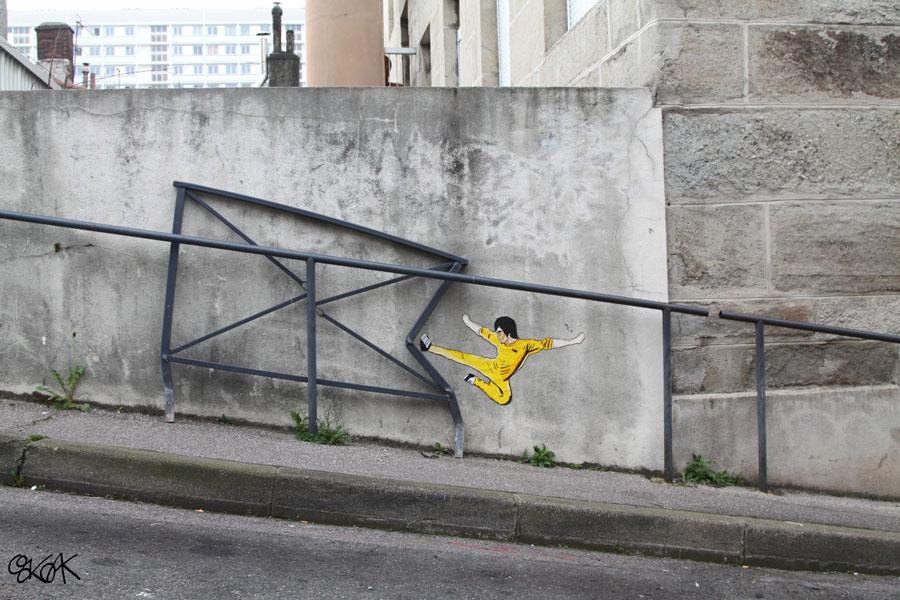 Bruce Lee by Oakoak - Saint Etienne, France, Mars 2014