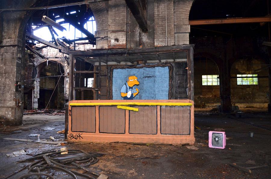 moe, simpson, Oakoak, Street art