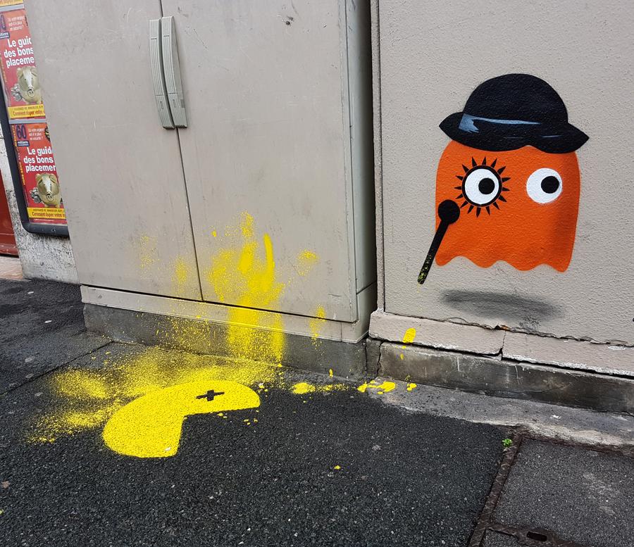 clockwork orange pacman by OAKOAK - bayonne france - ocober 2017